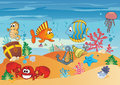 Sea life seascape with underwater creatures and sunken treasures Stock Image