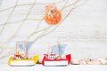 Sea life shabby background with toy ships Stock Image