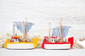 Sea life shabby background with toy ships Royalty Free Stock Image