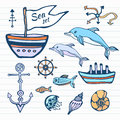 Sea life sketch hand drawn doodle set. Nautical collection with ship, dolphin, shells and other. Vector in color Royalty Free Stock Photo
