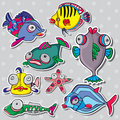 Sea life vector set Royalty Free Stock Images
