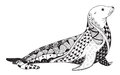 Sea Lion Zentangle Stylized, S...