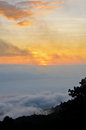 Sea of mist on sunrise. View from high mountain Stock Photos