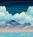 Sea, mountains and clouds on a night sky