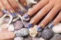 Sea nails design. Royalty Free Stock Photo