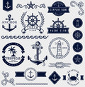 Sea and nautical design elements. Vector set. Royalty Free Stock Photo