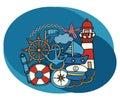 Sea and nautical design set. Cartoon free hand draw doodle.
