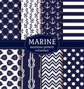 Sea and nautical seamless patterns set. Royalty Free Stock Photo