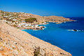 Sea near chora sfakion in crete beautiful azure lybian and little white houses of greece Royalty Free Stock Images