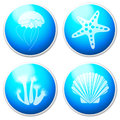 Sea objects design elements buttons white Stock Photo