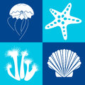 Sea objects design elements white on the blue background Royalty Free Stock Image