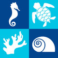 Sea objects design elements white on the blue background Royalty Free Stock Images