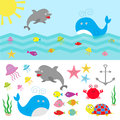 Sea ocean animal fauna set. Fish, whale,dolphin, turtle, star, crab, jellyfish, anchor, seaweed, waves Cute cartoon character coll