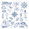 Sea or ocean underwater life with different animals and marine objects. Vector pictures in hand drawn style