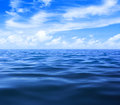 Sea or ocean water with blue sky and clouds