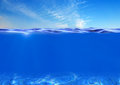 Sea or ocean water surface and underwater Royalty Free Stock Photo