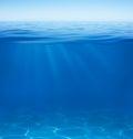 Sea or ocean water surface and underwater split by waterline