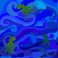 Sea and octopus vector illustratoin seamless pattern Royalty Free Stock Images