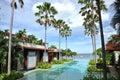 Sea Palm Tree Resort Swimming Pool Royalty Free Stock Photo