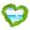 Sea, palm trees in the shape of heart Royalty Free Stock Photo