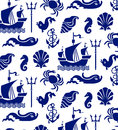 Sea pattern seamless ship shells dolphins anchor with rope little horse and crab on white background Royalty Free Stock Photo
