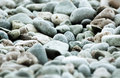Sea pebbles grey and brown colors on the beach closeup Royalty Free Stock Images