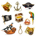 Sea pirates, vector icon set Royalty Free Stock Photo