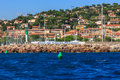 The sea port sainte maxime cote d azur france with yachts and сity Stock Photo