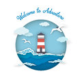 Sea postcard welcome to adventure style paper art.