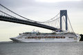 Sea princess cruise ship under verrazano bridge during princess world cruise new york july on july visit new york as a part of Royalty Free Stock Image