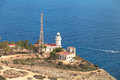 The sea reserve of san antonio cape lighthouse denia spain at foot cliffs remains marine a protected area special Stock Photos