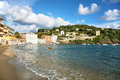 Sea resort view of beach in sestri levante famous small town in mediterranean liguria italy Royalty Free Stock Photo