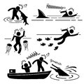 Sea river fish animal attacking human pictogram ic a set of representing water and animals big shark jellyfish piranha and Royalty Free Stock Photography