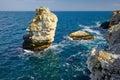 Sea rocks black with in the water near the bulgarian coast tyulenovo Stock Image