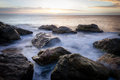 Sea rocks long exposure of in the morning Stock Photography