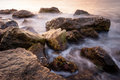 Sea rocks long exposure of in the morning Royalty Free Stock Photo