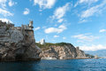 Sea and rocks medieval knight s castle on a high cliff by the Royalty Free Stock Photography