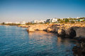 Sea rocky caves in ayia napa cyprus sunrise view see my other works portfolio Royalty Free Stock Images