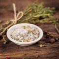 Sea salt with herbs close up Royalty Free Stock Photo