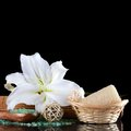 Sea salt and lily flower spa procedures Stock Photos