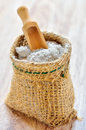 Sea salt in sack Royalty Free Stock Photo