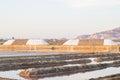 Sea salt at salt marsh mountainous hills Stock Images