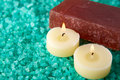 Sea-salt, soap and candles Royalty Free Stock Photo