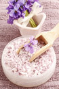 Sea salt with viola flowers viola odorata spa time Royalty Free Stock Image