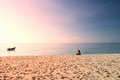 Sea sand sky in summer day tropical beach sunset background Royalty Free Stock Photo
