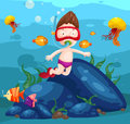 Sea scape cute boy snorkeling Royalty Free Stock Photo