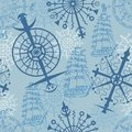 Sea seamless background with marine symbols, compass and ships on blue Royalty Free Stock Photo