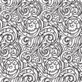 Sea seamless pattern, black and white wave . Adult Coloring pages Royalty Free Stock Photo