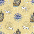 Sea seamless pattern with gulls and ships on yellow background