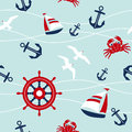 Sea seamless pattern with nautical elements Stock Photography
